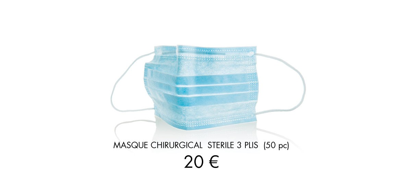 Masque chirurgical 3 plis stérile à 20 euros les 50 pièces