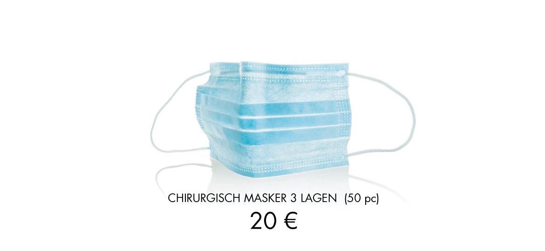CHIRURGISCH MASKER 3 LAGEN (50 pc) of 20 €